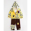 cheap Fashion Watches-Spring Autumn Boy Three-piece Suits Lovely Bear Infant Long-sleeved Plaid Hooded Coat T-shirt Pants