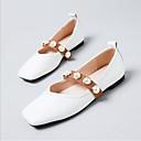 זול מגפי נשים-בגדי ריקוד נשים נעליים מיקרופייבר PU סינתטי קיץ עפעף בטנה שטוחות שטוח בוהן עגולה לבן / חום