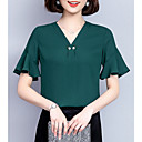 cheap Necklaces-Women's Loose Blouse - Solid Colored V Neck / Flare Sleeve
