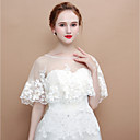 cheap Wedding Wraps-Sleeveless Tulle Wedding / Party / Evening Women's Wrap With Pattern Capelets