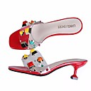 cheap Girls' Dresses-Women's Shoes PVC Leather Summer Comfort Sandals Stiletto Heel White / Black / Red