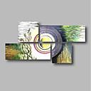 billige Uten Indre Ramme-Hang malte oljemaleri Håndmalte - Abstrakt / Landskap Moderne Inkluder indre ramme / Fire Paneler / Stretched Canvas