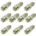 voordelige Autobinnenverlichting-1 w led lamp e10 schroef basis voor fakkel licht signaal lamp auto-interieur licht dc 12 v warm wit / koud wit (10 stks)