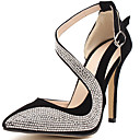 cheap Women's Heels-Women's Shoes Glitter Summer / Fall Gladiator / Basic Pump Heels Stiletto Heel Rhinestone Gold / Black / Party & Evening