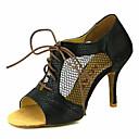 baratos Sapatos de Dança Latina-Mulheres Sapatos de Dança Latina / Sapatos de Salsa Glitter / Courino Sandália / Salto Presilha / Cadarço de Borracha Salto Personalizado Personalizável Sapatos de Dança Prateado / Vermelho / Azul