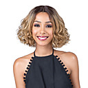cheap Human Hair Wigs-Human Hair Lace Wig Curly Bob Haircut / Middle Part Synthetic Hair Fashionable Design / Party Light Brown Wig Women's Short Capless