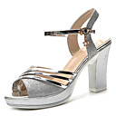cheap Earrings-Women's Shoes PU(Polyurethane) Summer Comfort Sandals Low Heel Round Toe Gold / Silver