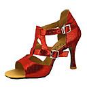 abordables Ropa para Baile Latino-Mujer Zapatos de Baile Latino / Zapatos de Salsa Cuero Sintético Sandalia / Tacones Alto Hebilla / Corbata de Lazo Tacón Personalizado Personalizables Zapatos de baile Rojo / Azul / Dorado