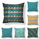 cheap Holiday Decorations-6 pcs Textile / Cotton / Linen Pillow case, Polka Dot / Art Deco / Printing Geometric / Square Shaped