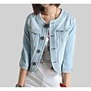 cheap Earrings-Women's Going out Cotton / Denim Denim Jacket - Solid Colored / Color Block, Patchwork