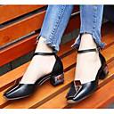 povoljno Ženske klompe i klompe na petu-Žene Cipele Mekana koža Proljeće Udobne cipele Cipele na petu Kockasta potpetica Crn / Pink / Crvena