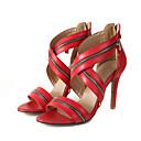 povoljno Ženske sandale-Žene Cipele PU Ljeto Obične salonke Sandale Stiletto potpetica Peep Toe Crn / Crvena / Pink / Vjenčanje / Zabava i večer