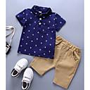 cheap Human Hair Wigs-Baby Boys' Basic Daily Print Short Sleeve Regular Cotton Clothing Set Blue / Toddler