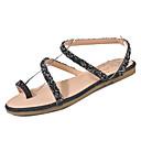 ieftine Sandale de Damă-Pentru femei Pantofi PU Vară Confortabili Sandale Toc Drept Vârf rotund Negru / Argintiu