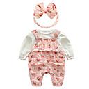 זול אוברולים טריים לתינוקות-סט של בגדים שרוול ארוך פרחוני בסיסי בנות תִינוֹק / פעוטות