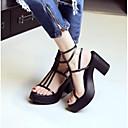 povoljno Ženske sandale-Žene Cipele Mekana koža Ljeto Udobne cipele Sandale Kockasta potpetica Otvoreno toe Obala / Crn