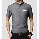 baratos Quadicópteros CR & Multirotores-Homens Camisa Social - Trabalho Sólido Colarinho Com Botões / Colarinho Chinês / Manga Curta