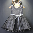 ieftine Seturi Îmbrăcăminte Fete-Copil Fete Activ / Dulce Concediu / Ieșire Mată Paiete Fără manșon Midi Nailon Rochie Negru 110