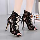 olcso Női magassarkú cipők-Női Cipő Fordított bőr Nyár Kényelmes Magassarkúak Tűsarok Fekete