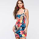 cheap Body Jewelry-Women's Floral Party / Birthday Skinny Bodycon Dress - Geometric / Rainbow Backless / Print Deep U Cotton Rainbow M L XL / Sexy