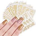 preiswerte 3D Sticker-12 pcs Künstliche Nagelspitzen Nail Schmuck Aufkleber Nagel Kunst Maniküre Pediküre Modisches Design / Kreativ Professionell / Nagel-Aufkleber Freizeitskleidung / Nagelschmuck