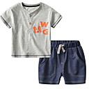 ieftine Set Îmbrăcăminte Băieți Bebeluși-Bebelus Băieți Activ Zilnic Imprimeu Manșon scurt Scurt Bumbac / Poliester Set Îmbrăcăminte Gri 100 / Copil