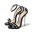 رخيصةأون صنادل نسائية-للمرأة أحذية PU صيف ارتفاع كلاسيكي صنادل كعب ستيلتو أمام الحذاء على شكل دائري مشبك أسود / أحمر / أخضر / زفاف / الحفلات و المساء