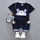 ieftine Seturi Îmbrăcăminte Băieți-Copil Băieți Negru și gri Imprimeu Manșon scurt Set Îmbrăcăminte
