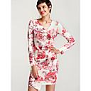 baratos Botas Femininas-Mulheres Tubinho / Bainha Vestido - Franzido, Floral Decote V Acima do Joelho / Delgado