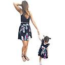 povoljno Obiteljski komplet odjeće-Mama i mene Osnovni Hlače - Cvjetni print Crn