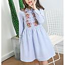 ieftine Seturi Îmbrăcăminte Fete-Copii Fete De Bază / Dulce Mată / Floral / Bloc Culoare Brodat Manșon Lung Lungime Genunchi Rochie / Bumbac