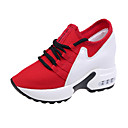 preiswerte Damen Sportschuhe-Damen Schuhe Gitter / PU Frühling Sommer Fersenriemen Sportschuhe Walking Keilabsatz Runde Zehe Schwarz / Rot
