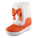 povoljno Ženske cipele s petom-Žene Cipele PU Jesen zima Čizme za snijeg Čizme Wedge Heel Okrugli Toe Čizme gležnjače / do gležnja Mašnica Crn / žuta / Crvena