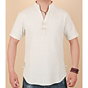 cheap Men's Slip-ons & Loafers-Men's Chinoiserie Linen T-shirt - Solid Colored V Neck / Short Sleeve