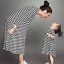 ieftine Set Îmbrăcăminte De Familie-Copil Mama și cu mine Activ / De Bază Școală Dungi Imprimeu Lungime Manșon 3/4 Lung Midi Rochie