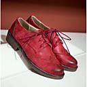 ieftine Sandale de Damă-Pentru femei Pantofi de stil britanic PU Vară Confortabili Oxfords Toc Jos Vârf rotund Gri / Galben / Roșu Vin / Zilnic
