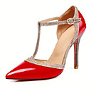 cheap Women's Heels-Women's Shoes PU(Polyurethane) Spring & Summer T-Strap Heels Stiletto Heel Pointed Toe Buckle Silver / Red / Nude / Party & Evening