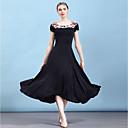 cheap Ballroom Dance Wear-Ballroom Dance Dresses Women's Performance Ice Silk Ruching / Crystals / Rhinestones / Embossed Short Sleeve Dress