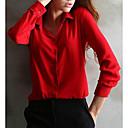 billige Smykke Sæt-Krave Dame - Ensfarvet Plusstørrelser Bluse