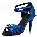 cheap Latin Shoes-Women's Latin Shoes Satin Sneaker Crystals Cuban Heel Dance Shoes Black / Purple / Blue