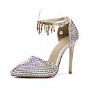 ieftine Sandale de Damă-Pentru femei Pantofi PU Primavara vara D'Orsay & Două Bucăți pantofi de nunta Toc Stilat Vârf ascuțit Sclipici Strălucitor / Cataramă / Franjuri Curcubeu / Nuntă / Party & Seară
