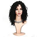 זול פיאות סינטטיות ללא כיסוי-פאות סינתטיות מתולתל תספורת בוב שיער סינטטי שורשים כהים שחור פאה בגדי ריקוד נשים חצי אורך ללא מכסה שחור / Yes
