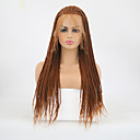 cheap Synthetic Capless Wigs-Synthetic Lace Front Wig Matte Braid Synthetic Hair Heat Resistant / Braided Wig Brown Wig Women's Long Lace Front Medium Auburn / Yes