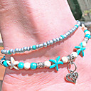 cheap Body Jewelry-Turquoise Layered Anklet - Heart, Starfish Vintage, Bohemian, Fashion Turquoise For Holiday Bikini Women's