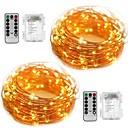 abordables Guirlandes Lumineuses LED-10m Guirlandes Lumineuses 100 LED SMD 0603 Blanc Chaud / Blanc Imperméable / Soirée / Décorative Batteries alimentées 2pcs