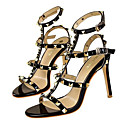 povoljno Ženske sandale-Žene Cipele PU Ljeto Udobne cipele Sandale Stiletto potpetica Zatvorena Toe Obala / Crn / Crvena