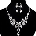 cheap Bracelets-Women's Cubic Zirconia Bib Jewelry Set - Cubic Zirconia, Imitation Diamond Drop Statement, Party, Double-layer Include Pendant Necklace Earrings Bib necklace White For Party Special Occasion