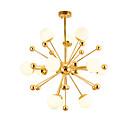 tanie Żyrandole-Nowoczesny żyrandol ze szkła led wisiorek z żyrandolem naściennym z 12-pozycyjną oprawą galwaniczną ze złotym wykończeniem g4
