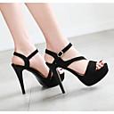 baratos Sandálias Femininas-Mulheres Sapatos Couro Ecológico Verão Conforto / Plataforma Básica Sandálias Salto Agulha Preto / Rosa claro / Amêndoa