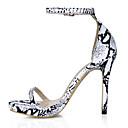 ieftine Pantofi Joși de Damă-Pentru femei Pantofi PU Vară D'Orsay & Două Bucăți Sandale Toc Stilat Vârf deschis Cataramă Negru / Alb / Party & Seară